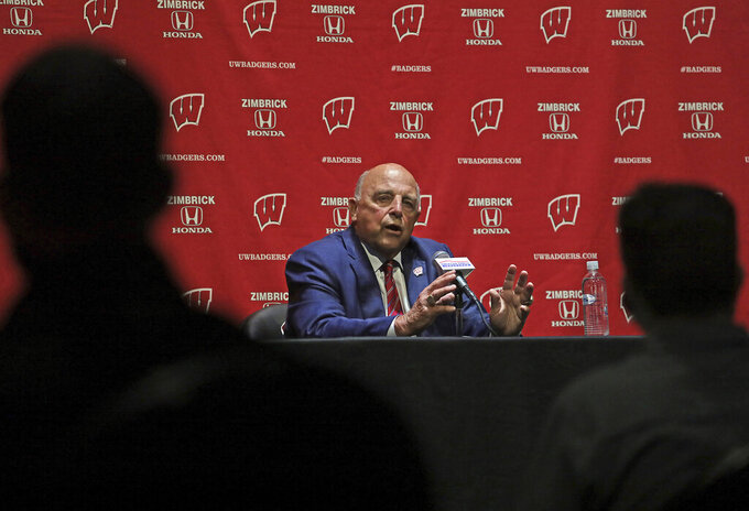 University of Wisconsin Athletic Director Barry Alvarez speaks during a press conference following an event marking his retirement announcement at the Kohl Center in Madison, Wis. Tuesday, April 6, 2021. (John Hart/Wisconsin State Journal via AP)