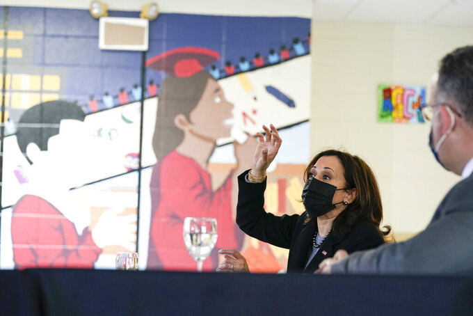 Vice President Kamala Harris participates in a listening session at the Boys & Girls Club of New Haven, Conn., Friday, March 26, 2021, on how the American Rescue Plan addresses child poverty and education. (AP Photo/Susan Walsh)