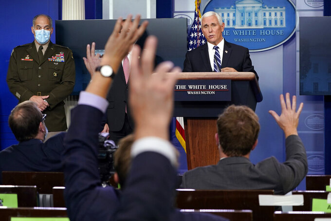 FILE - In this Nov. 19, 2020, file photo Vice President Mike Pence speaks during a news conference with the coronavirus task force at the White House in Washington. (AP Photo/Susan Walsh, File)