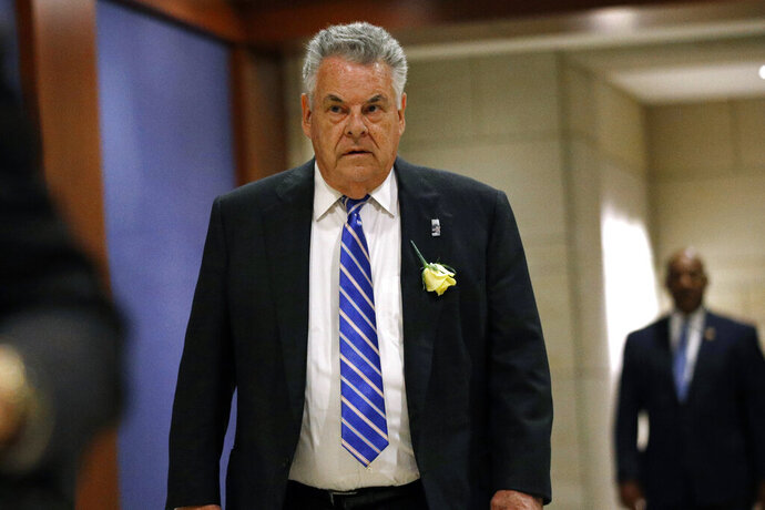 FILE - In this May 21, 2019, file photo, Rep. Peter King, R-N.Y., arrives for a classified members-only briefing on Iran on Capitol Hill in Washington. King announced Monday, Nov. 11, 2019,  he will not seek reelection in 2020. The 14-term Republican congressman said in a Facebook post that his commute was a main factor in his decision, saying he wants