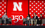 In this Monday, Feb. 11, 2019 photo, University of Nebraska senior Hunter Traynor shares his opinion on the question of why don't people always get along as UNL student Grace Chambers, U.S. Ben Sasse, R-Neb., and Kamryn Sannicks listen  Lincoln, Neb. (Savannah Blake/Lincoln Journal Star via AP)