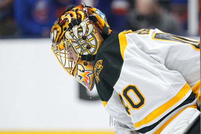 Boston Bruins goaltender Tuukka Rask (40) reacts after New York Islanders' Brock Nelson scored a goal during the second period of Game 6 during an NHL hockey second-round playoff series Wednesday, June 9, 2021, in Uniondale, N.Y. (AP Photo/Frank Franklin II)