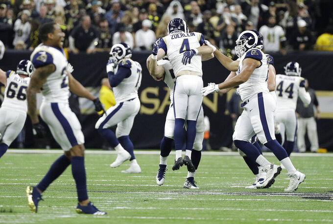 Los Angeles Rams kicker Greg Zuerlein celebrates his game-winning field goal in overtime of the NFL football NFC championship game against the New Orleans Saints, Sunday, Jan. 20, 2019, in New Orleans. (AP Photo/David J. Phillip)