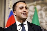 Five-Star Movement leader Luigi Di Maio addresses the media after a meeting with Italian President Sergio Mattarella, at the Quirinale presidential palace, in Rome, Monday, May 14, 2018. The leader of the euro-skeptic 5-Star Movement asked Italy's president on Monday for more time to hammer out a coalition deal with the head of a rival populist party, saying he also wants his voter base to have their say online about the accord before any government is formed. (Riccardo Antimiani/ANSA via AP)