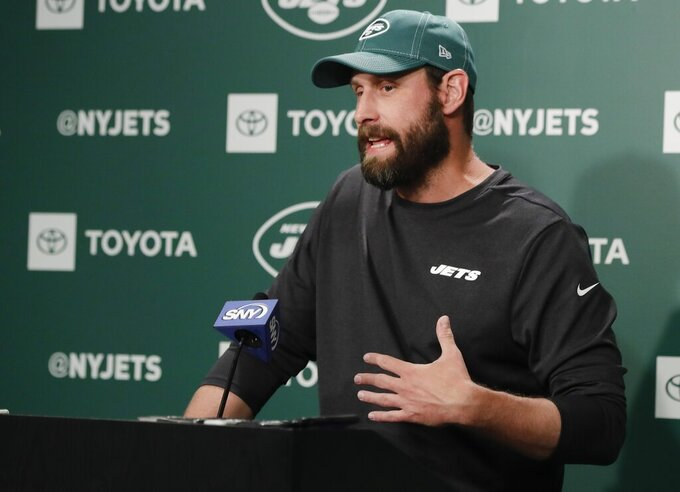 New York Jets head coach Adam Gase speaks at the team's NFL football training facility Wednesday, Aug. 21, 2019, in Florham Park, N.J. (AP Photo/Frank Franklin II)