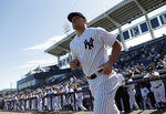 New York Yankees' Aaron Judge runs onto the field before a spring training baseball game against the Toronto Blue Jays, Monday, Feb. 25, 2019, in Tampa, Fla. (AP Photo/Lynne Sladky)