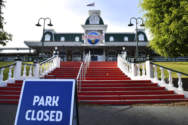 The exterior of the Dreamworld theme park is seen on the Gold Coast, Tuesday, July 21, 2020. The company that owns the Australian theme park where four people died on a river rapids ride will plead guilty to charges stemming from the 2016 tragedy, a lawyer said on Wednesday, July 29, 2020. (AAP Image/Darren England)