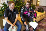 IndyCar driver Conor Daly, left, and Jack Harvey speak during IndyCar auto racing media day, Monday, Feb. 11, 2019, in Austin, Texas. (AP Photo/Stephen Spillman)