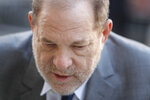 Harvey Weinstein arrives for jury selection in his trial on rape and sexual assault charges, in New York, Wednesday, Jan. 15, 2020. (AP Photo/Seth Wenig)