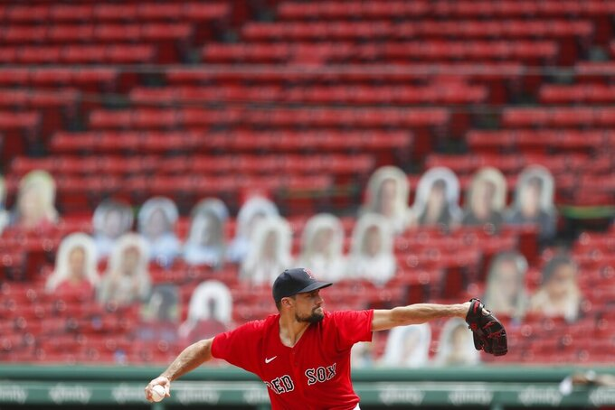FILE - In this Aug. 9, 2020, file photo, Boston Red Sox starting pitcher Nathan Eovaldi delivers in front of empty stands during the first inning of a baseball game against the Toronto Blue Jays in Boston during the COVID-19 pandemic. The Red Sox announced Thursday, Feb. 25, 2021, that the team is making plans for a limited number of fans to return to Fenway Park for the regular season. (AP Photo/Michael Dwyer, File)