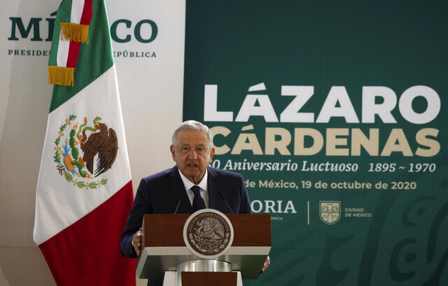 Mexico's President Andres Manuel Lopez Obrador speaks during a ceremony marking the 50th anniversary of the death of former President Lazaro Cardenas in Mexico City, Monday, Oct. 19, 2020. (AP Photo/Fernando Llano)