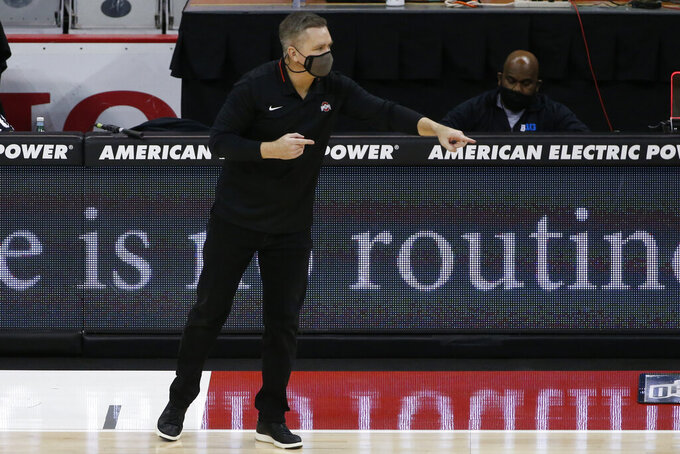 Ohio State coach Chris Holtmann shouts to his team during the first half of an NCAA college basketball game against Nebraska on Wednesday, Dec. 30, 2020, in Columbus, Ohio. (AP Photo/Jay LaPrete)