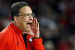 Georgia coach Tom Crean yells out from the bench during an NCAA college basketball game against Texas in Athens, Ga., Saturday, Jan. 26, 2019. (Joshua L. Jones/Athens Banner-Herald via AP)