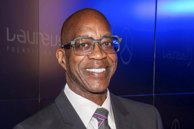 FILE - Edwin Moses attends the Laureus Fashion Show Gala in  New York, in this Sept. 10, 2019, file photo. Just to hear chatter in the nation's capital about a possible boycott of the Winter Olympics in China had to be enough to alarm athletes already deep in preparation for the games. ``For an Olympic athlete a boycott is an absolute tragedy,'' track great Edwin Moses said. ``We only get that one shot every four years.'' Moses hasn't run in an Olympics since 1988, though he's got a unique insight into boycotts. (Photo by Charles Sykes/Invision/AP, File)