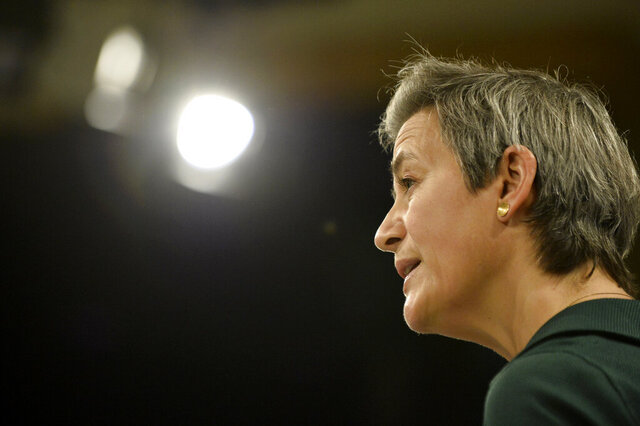 European Executive Vice- President Margrethe Vestager speaks during a media conference regarding an antitrust case at EU headquarters in Brussels, Thursday, Nov. 26, 2020. The European Union has fined two pharmaceutical companies for colluding to keep a cheap alternative to a sleep disorder medicine off the market for their profit and at the expense of patients. (Johanna Geron, Pool via AP)