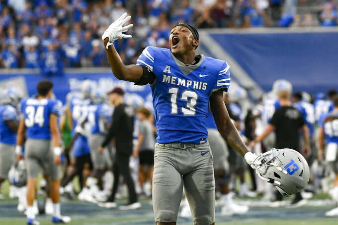 Memphis wide receiver Javon Ivory (13) celebrates after an NCAA college football game against Mississippi State, Saturday, Sept. 18, 2021, in Memphis, Tenn. (AP Photo/John Amis)