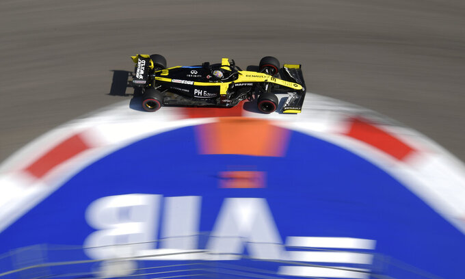 Renault driver Daniel Ricciardo of Australia steers his car during the first practice session for the upcoming Russian Formula One Grand Prix, at the Sochi Autodrom circuit, in Sochi, Russia, Friday, Sept. 25, 2020. The Russian Formula One Grand Prix will take place on Sunday. (Kirill Kudryavtsev, Pool via AP)