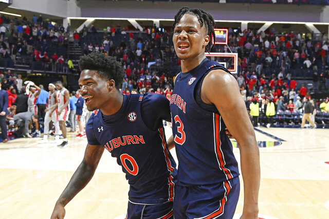 Auburn guard Tyrell Jones (0) and forward Isaac Okoro (23) react after the team's 83-82 double-overtime win over Mississippi in an NCAA college basketball game in Oxford, Miss., Tuesday, Jan. 28, 2020. (AP Photo/Thomas Graning)
