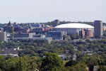 FILE - This Sept. 21, 2015, file photo, shows The Carrier Dome at Syracuse University in Syracuse, N.Y. The Carrier Dome at Syracuse University hosted its first football game 40 years ago this week, and it's undergoing a major upgrade as the football season opener looms. (AP Photo/Mike Groll, File)