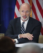 Pennsylvania Gov. Tom Wolf addresses a regional summit of governors on public health issues around cannabis and vaping, Thursday Oct. 17, 2019, in New York. (AP Photo/Bebeto Matthews)