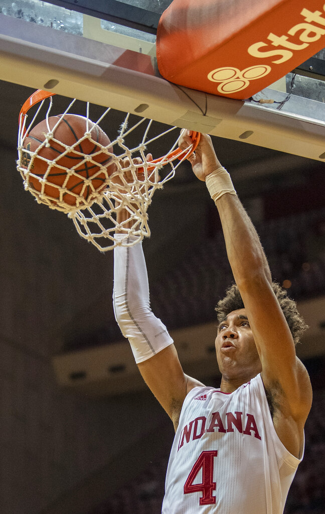 Indiana's Trayce Jackson-Davis dunks against Troy during an NCAA college basketball game in Bloomington, Ind., Saturday, Nov. 16, 2019. (Rich Janzaruk/The Herald-Times via AP)