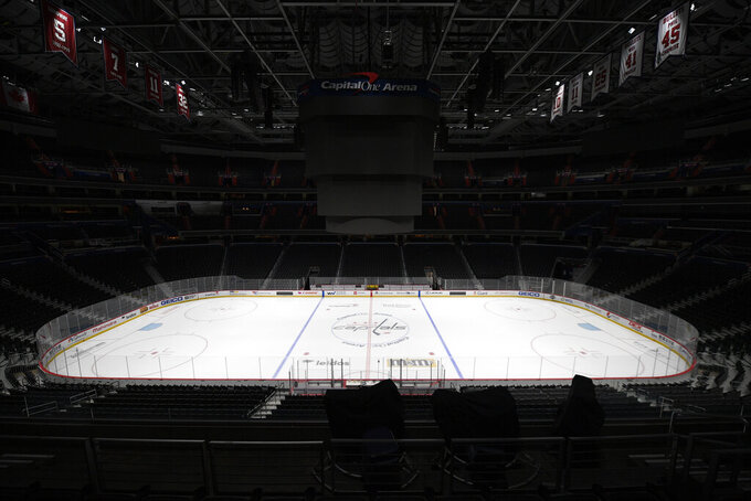 FILE - This March 12, 2020, file photo, shows the Capital One Arena, home of the Washington Capitals NHL hockey club in Washington. Time is running short for the NHL to start its season on Jan. 1. Various pandemic-related geographic and economic issues remain unresolved. (AP Photo/Nick Wass, File)