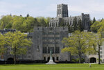 FILE - This May 2, 2019 file photo shows a view of the United States Military Academy at West Point, N.Y. On Monday, June 3, a three-judge Army appeals court panel reversed the 2016 rape conviction of cadet Jacob Whisenhunt and ordered him reinstated at the academy. Angering sexual assault victim advocates who say the decision is filled with victim-blaming, the judges found it implausible that Whisenhunt could complete the offenses without cooperation or detection. (AP Photo/Seth Wenig, File)