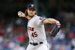 Houston Astros starting pitcher Gerrit Cole throws during the first inning of a baseball game against the Texas Rangers, Friday, July 12, 2019, in Arlington, Texas. (AP Photo/Brandon Wade)