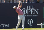 Spain's Jon Rahm tees off from the 1st hole during the final round of the British Open Golf Championship at Royal St George's golf course Sandwich, England, Sunday, July 18, 2021. (AP Photo/Peter Morrison)