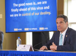 In this photo provided by the Office of Governor Andrew M. Cuomo, Gov. Cuomo briefs the media during a coronavirus news conference at Marist College, Friday, May 8, 2020, in Poughkeepsie, N.Y. (Darren McGee/Office of Governor Andrew M. Cuomo via AP)