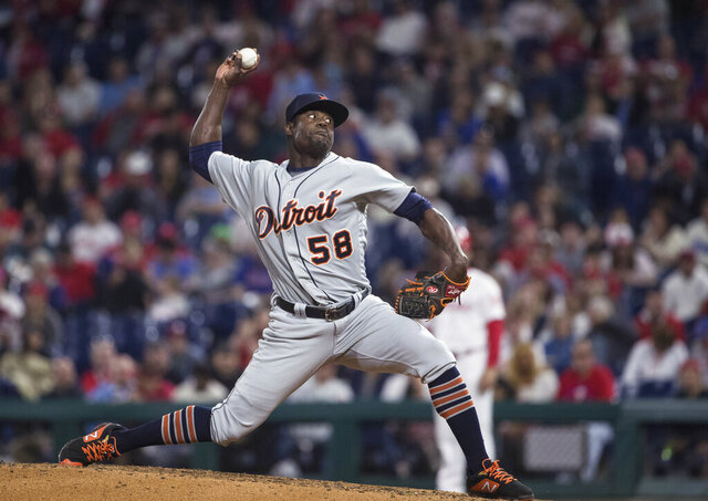 FILE - In this April 30, 2019, file photo, Detroit Tigers' Victor Alcántara pitches against the Philadelphia Phillies in a baseball game in Philadelphia. Alcántara was suspended for 80 games Friday, Feb. 21, 2020, under the major league drug program following a positive test for the performance-enhancing substance Stanozolol. The 26-year-old right-hander was 3-2 with a 4.85 ERA last season in 46 relief appearances for the Tigers. He became a free agent last fall after he was assigned outright to Triple-A Toledo on Oct. 24. (AP Photo/Matt Rourke, File)