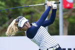 Brooke Henderson watches her tee shot on the 11th hole during the second round of the LPGA's Lotte Championship golf tournament Thursday, April 18, 2019, in Kapolei, Hawaii. (Craig T. Kojima/Honolulu Star-Advertiser via AP)