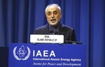 Iran's Vice-President and Head of the Atomic Energy Organisation Ali Akbar Salehi delivers his speech at opening of the general conference of the IAEA, at the International Center in Vienna, Austria, Monday, Sept. 16, 2019. (AP Photo/Ronald Zak)