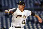 Pittsburgh Pirates starting pitcher Steven Brault delivers in the first inning of a baseball game against the Colorado Rockies in Pittsburgh, Monday, April 16, 2018. (AP Photo/Gene J. Puskar)