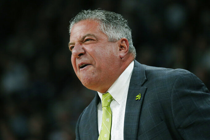 Auburn head coach Bruce Pearl calls out to his team during the first half of an NCAA college basketball game against Mississippi State, Saturday, Jan. 4, 2020, in Starkville, Miss. Auburn won 80-68. (AP Photo/Rogelio V. Solis)