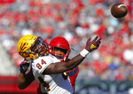 Arizona safety Troy Young (11) breaks up the pass intended for Arizona State wide receiver Frank Darby (84) in the first half during an NCAA college football game, Saturday, Nov. 24, 2018, in Tucson, Ariz. (AP Photo/Rick Scuteri)
