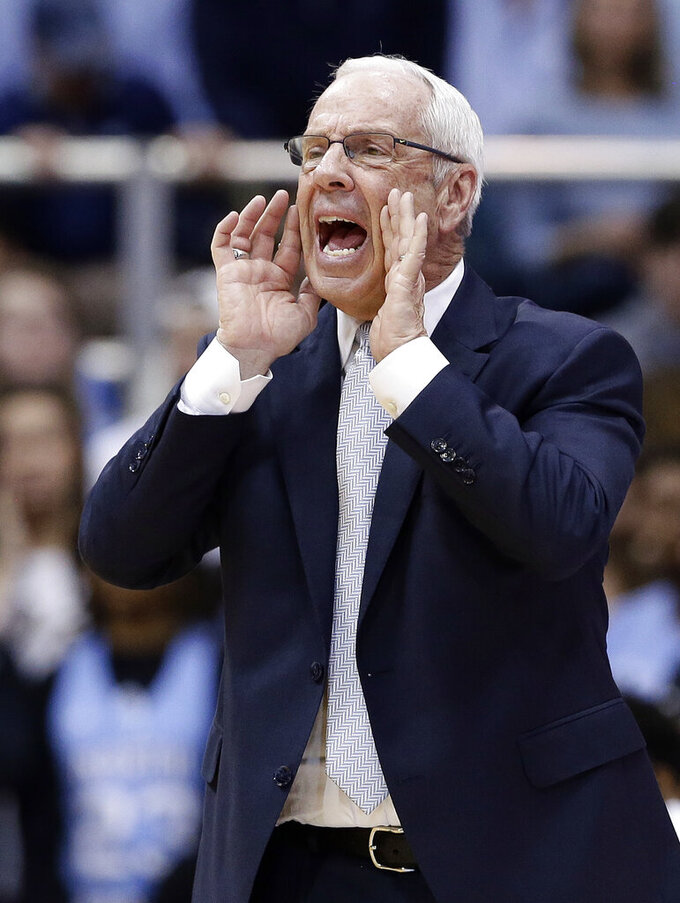 North Carolina coach Roy Williams yells during the second half of the team's NCAA college basketball game against Notre Dame in Chapel Hill, N.C., Tuesday, Jan. 15, 2019. North Carolina won 75-69. (AP Photo/Gerry Broome)