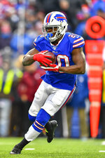 Buffalo Bills running back Frank Gore (20) run the ball against the Denver Broncos during the third quarter of an NFL football game, Sunday, Nov. 24, 2019, in Orchard Park, N.Y. (AP Photo/Adrian Kraus)