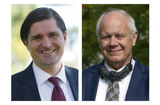State Rep. Mike Pellicciotti, left, poses for a photo Oct. 6, 2020, in Federal Way, Wash. State Treasurer Duane Davidson, right, poses for a photo Oct. 2, 2020, in Olympia, Wash. Pellicciotti, a Democrat, is challenging Davidson, a Republican and the incumbent, in the upcoming election for state treasurer. (AP Photo/Ted S. Warren)