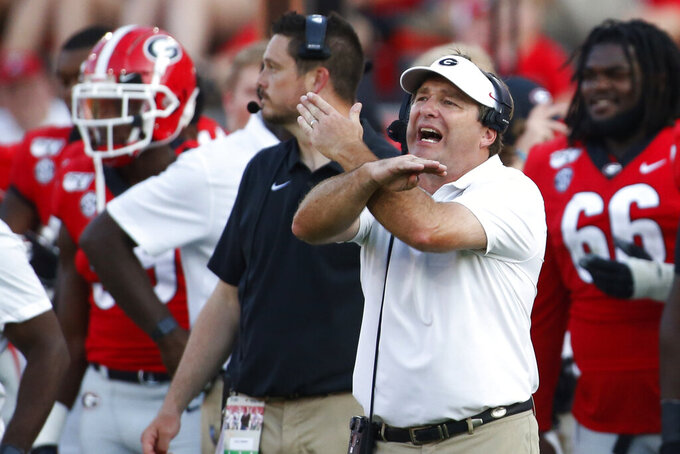 Georgia coach Kirby Smart gestures on the sideline in the second half of an NCAA college football game against Murray State, Saturday, Sept. 7, 2019, in Athens, Ga. (Joshua L. Jones/Athens Banner-Herald via AP)