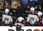 Columbus Blue Jackets watch the from the bench during the final seconds of the third period of Game 5 of an NHL hockey second-round playoff series against the Boston Bruins, Saturday, May 4, 2019, in Boston. (AP Photo/Charles Krupa)