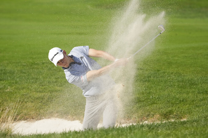 Nicolai Hojgaard hits a bunker shot during the fourth stage of the Italian Open golf tournament he just won, in Guidonia, in the outskirts of Rome, Sunday, Sept. 5, 2021. The Italian Open took place on the redesigned Marco Simone course just outside Rome that will host the 2023 Ryder Cup.(AP Photo/Andrew Medichini)