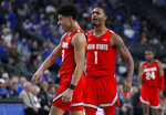 Ohio State's D.J. Carton, left, and Luther Muhammad celebrate as they lead against Kentucky during the second half of an NCAA college basketball game Saturday, Dec. 21, 2019, in Las Vegas. (AP Photo/John Locher)