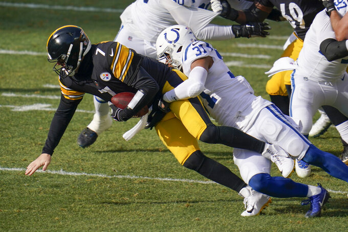 Indianapolis Colts strong safety Khari Willis (37) sacks Pittsburgh Steelers quarterback Ben Roethlisberger (7) during the first half of an NFL football game, Sunday, Dec. 27, 2020, in Pittsburgh. (AP Photo/Gene J. Puskar)