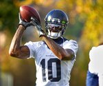 Seattle Seahawks receiver Josh Gordon works out with the NFL football team in Renton, Wash., Thursday, Nov. 7, 2019. (Mike Siegel/The Seattle Times via AP)