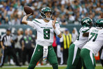 New York Jets' Luke Falk passes during the first half of an NFL football game against the Philadelphia Eagles, Sunday, Oct. 6, 2019, in Philadelphia. (AP Photo/Michael Perez)
