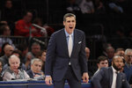 Villanova head coach Jay Wright calls out to his team during the second half of an NCAA college basketball game against St. John's Tuesday, Jan. 28, 2020, in New York. Villanova won 79-59. (AP Photo/Frank Franklin II)