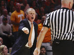 Tennessee head coach Rick Barnes yells from the bench in the second half of an NCAA college basketball game against Alabama, Saturday, Jan. 19, 2019, in Knoxville, Tenn. Tennessee won 71-68 (AP Photo/Shawn Millsaps)