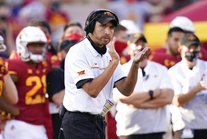 Iowa State head coach Matt Campbell reacts on the sideline during the second half of an NCAA college football game against Texas Tech, Saturday, Oct. 10, 2020, in Ames, Iowa. Iowa State won 31-15. (AP Photo/Charlie Neibergall)