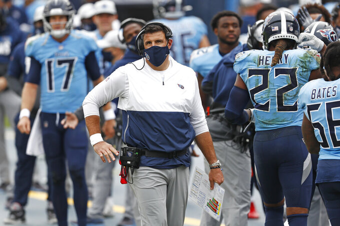 Tennessee Titans head coach Mike Vrabel watches from the sideline in the first half of an NFL football game against the Pittsburgh Steelers Sunday, Oct. 25, 2020, in Nashville, Tenn. (AP Photo/Wade Payne)